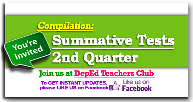 UPDATE: 2nd Quarter Summative Tests Grades 1-6