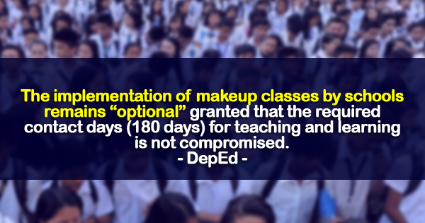 DepEd: Implementation of Makeup Classes by Schools Remain Optional