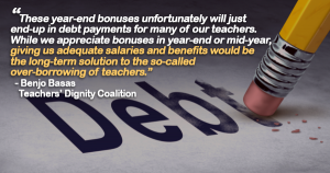 Gov't Teachers Say Bonuses Will Go Mostly To Pay Debts