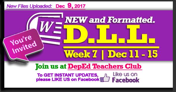 Week 7 - 3rd Quarter - Daily Lesson Log