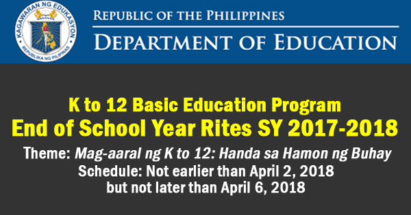 K to 12 Basic Education Program End of School Year Rites for