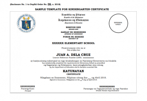 Sample Template For Kindergarten Certificate
