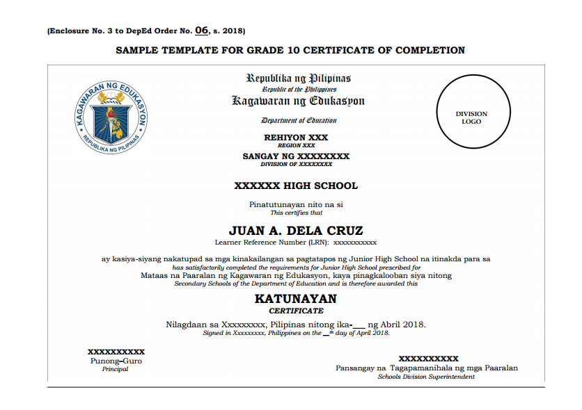 Sample Template For Grade 10 Certificate Of Completion The Deped