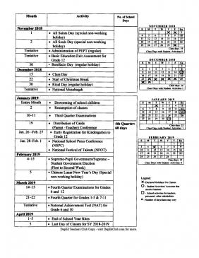 School Calendar for School Year 2018-2019