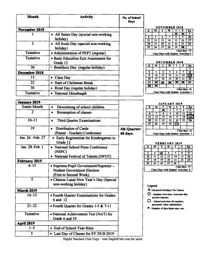 school calendar for school year 2018 2019