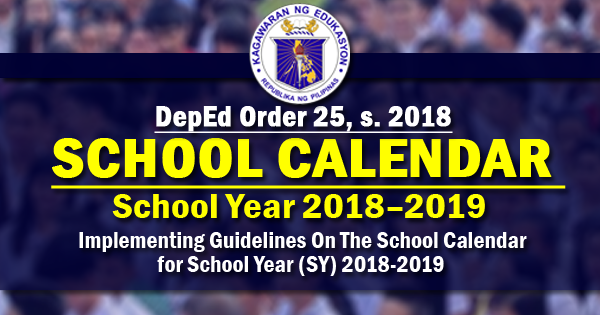 Guidelines for school calendar 2018 - 2019