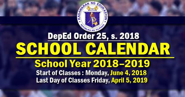 p deped school calendar 2018 2019