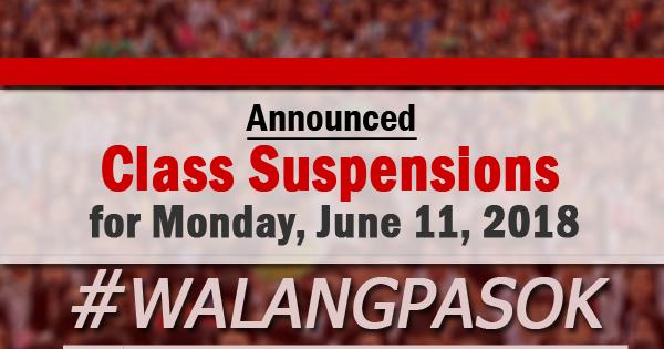Walangpasok Class Suspensions For Monday June