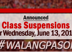 walangpasok Wednesday, June 13, 2018