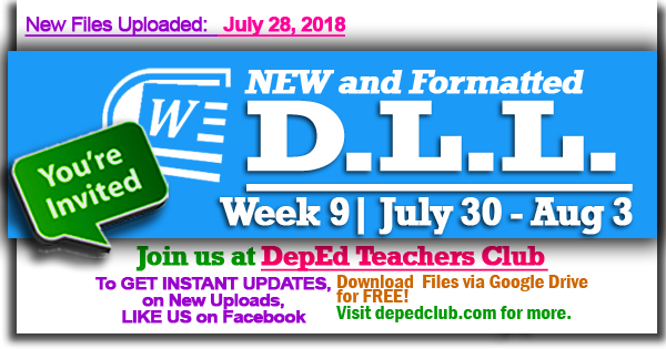 2018 DLL | Week 9 - 1st Quarter Daily Lesson Log (July 30