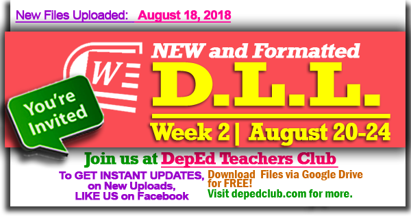 2018 DLL | Week 2 - 2nd Quarter Daily Lesson Log (August 20-24, 2018)