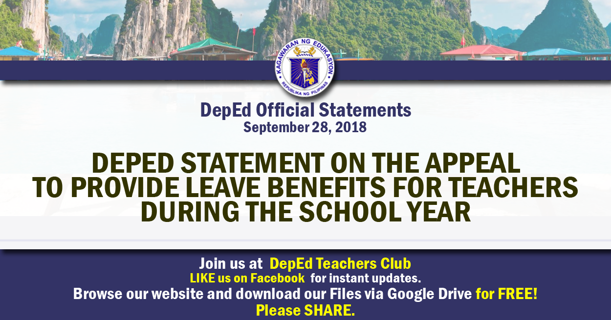 DepEd Statement on the Appeal to Provide Leave Benefits for
