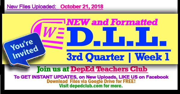 Week 1 - 3rd Quarter Daily Lesson Log (Oct  29 - Nov  2