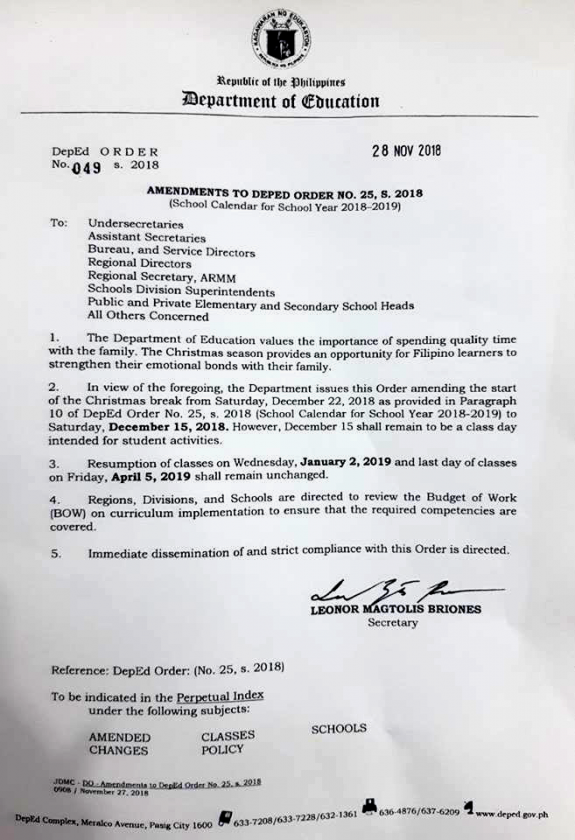 deped  christmas vacation will officially start on dec  15