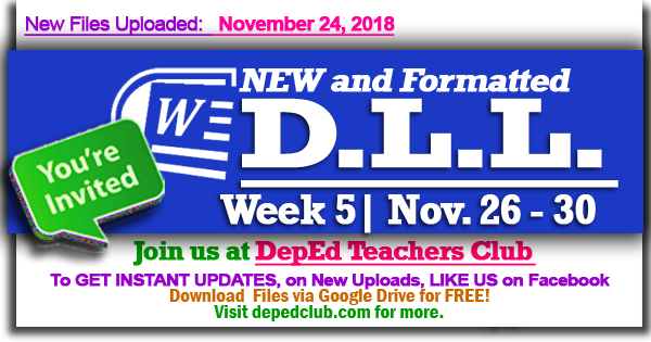 Week 5 - 3rd Quarter - Daily Lesson Log