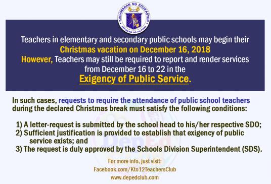 christmas break for teachers