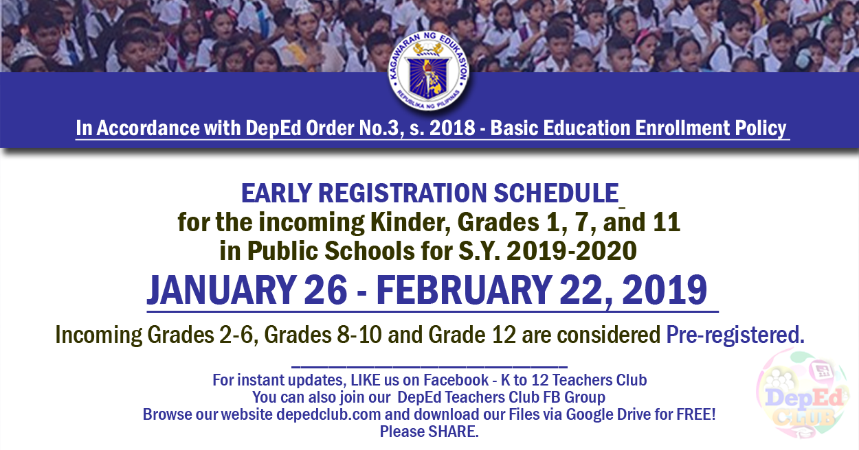 DepEd Early Registration Schedule in Public Schools for S Y