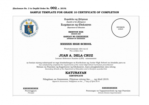 Grade 10 Certificate of Completion