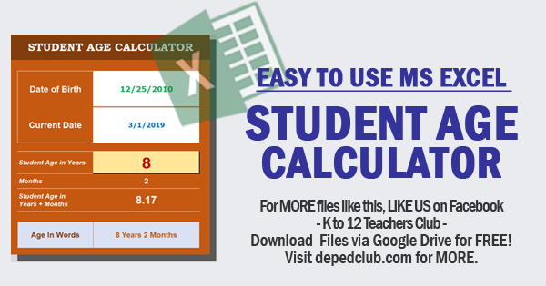 MS Excel Student Age Calculator | DepEd Teachers Club