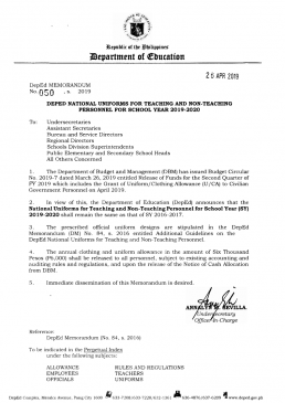 DEPED UNIFORM AND CLOTHING ALLOWANCE