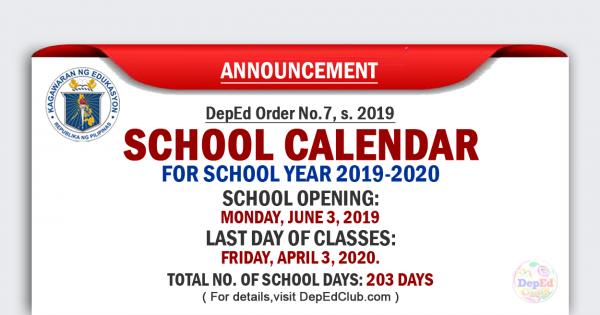 DepEd School Calendar for School Year 2019-2020