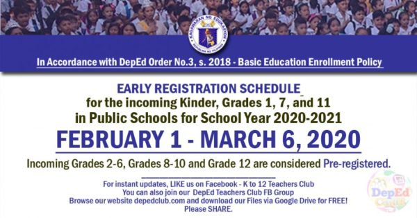 deped enrollment schedule for sy 2020 - 2021