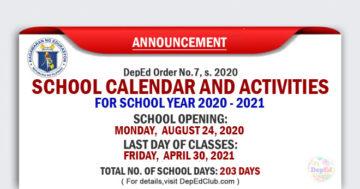 school opening for school year 2020 - 2021