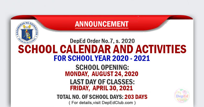 school opening for school year 2020 - 2021